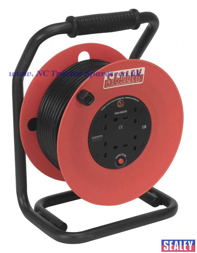 Cable Reel 50mtr 4 x 230V 1.5mm Heavy-Duty Thermal Trip
